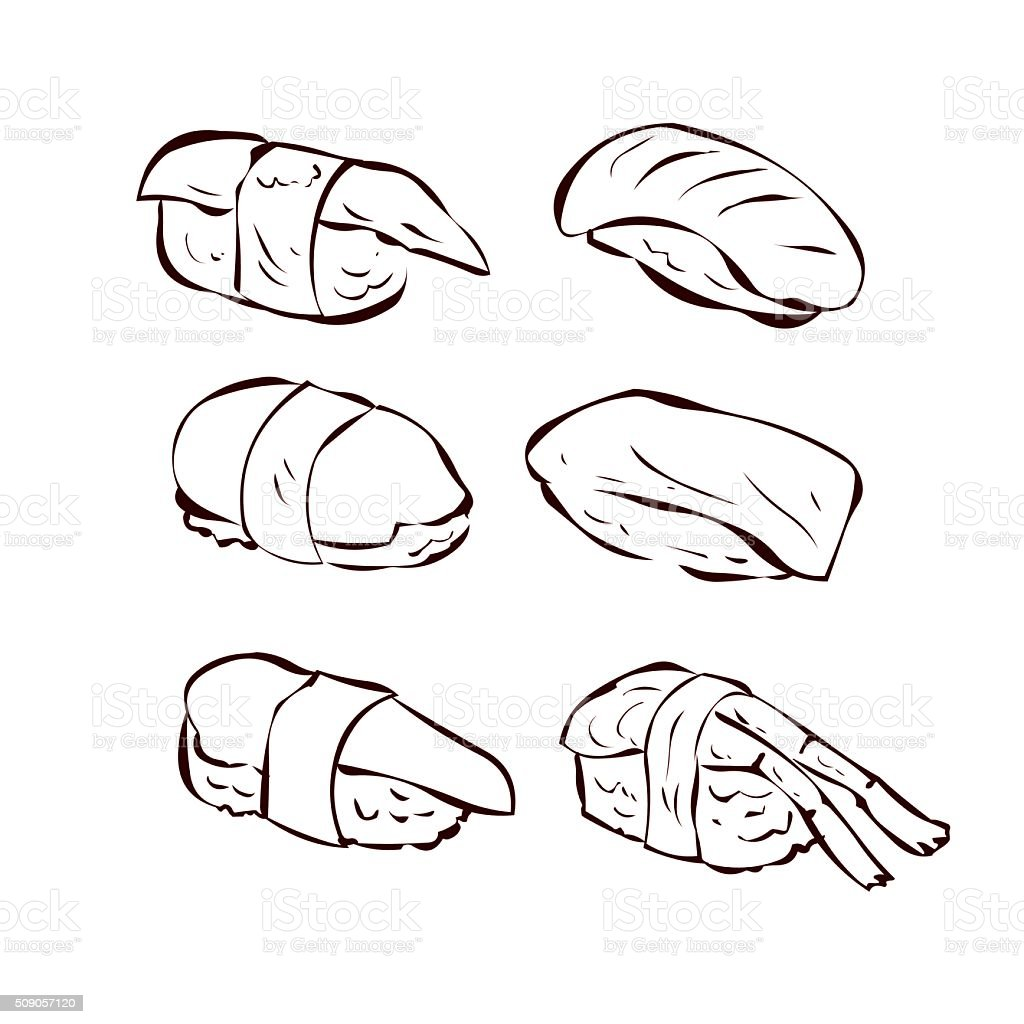 Sushi set. Traditional Japanese fast food. Hand drawn vector illustration vector art illustration