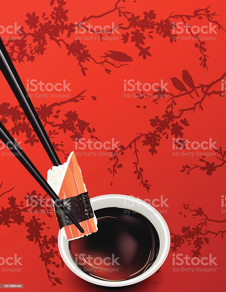 Sushi Template Or Background With Sakura And Soy Sauce vector art illustration