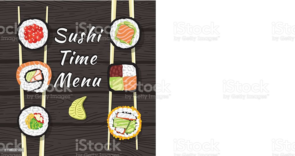 Sushi Time Menu vector art illustration