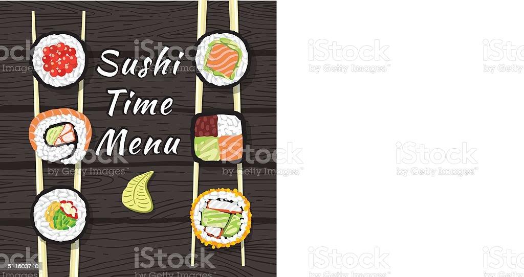 Sushi Time Menu vector art illustration