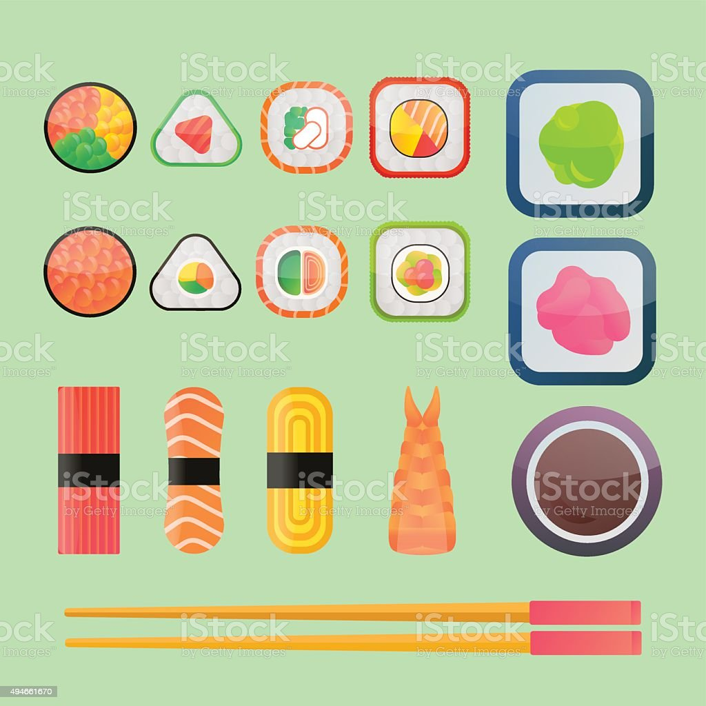 Sushi vector flat icons set vector art illustration