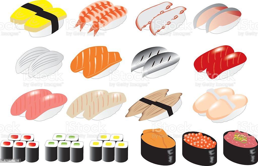 sushi_all vector art illustration