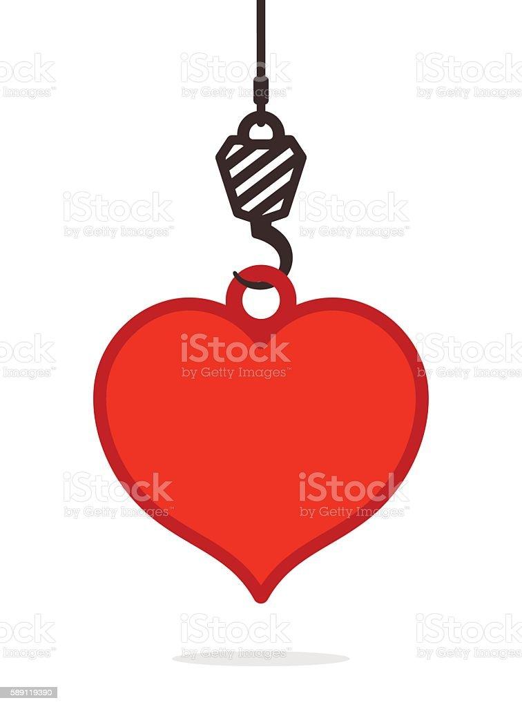 Suspended heavy duty hook lifting a red heart vector art illustration