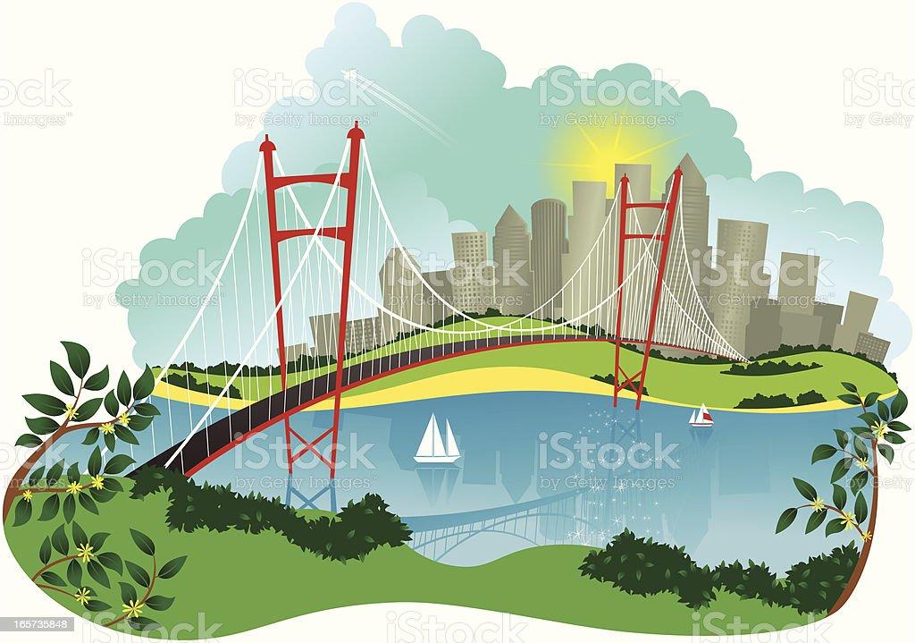 Suspension bridge and city vector art illustration