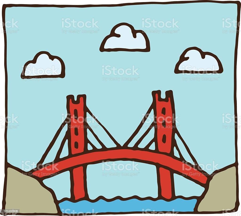 Suspension bridge over river royalty-free stock vector art
