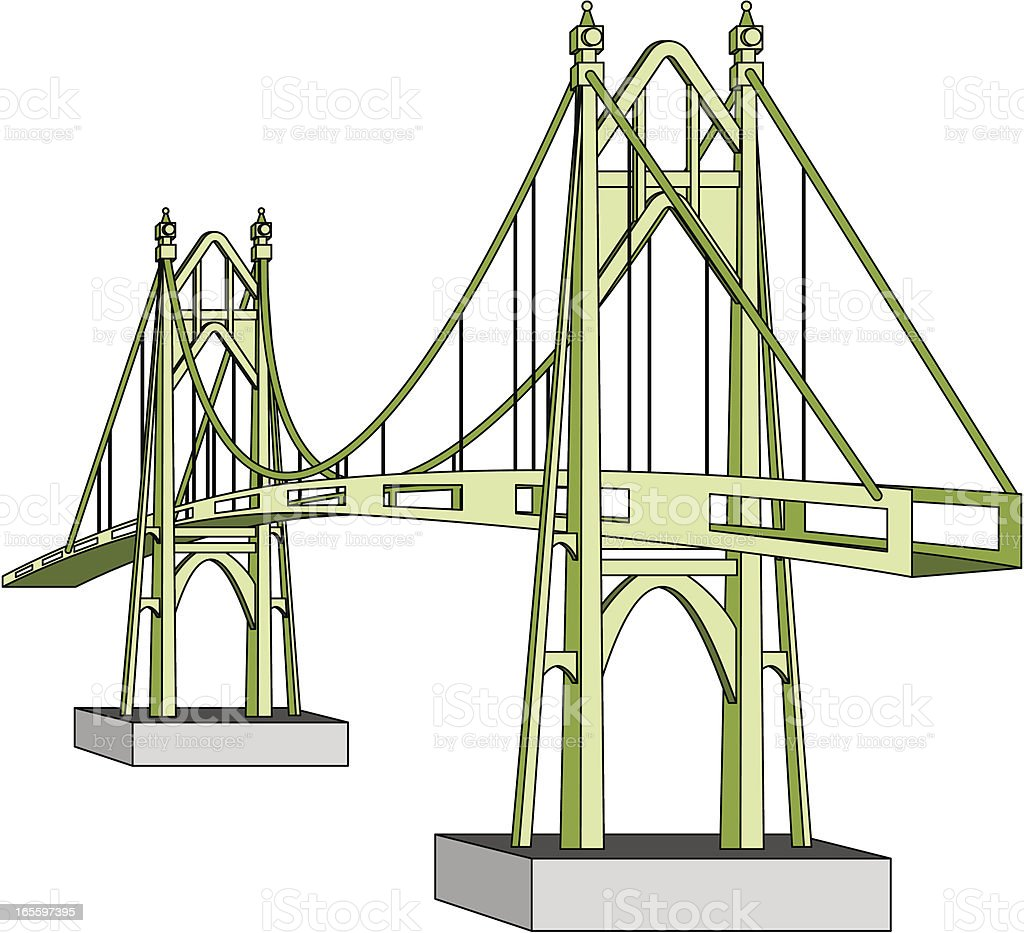 Suspension Bridge royalty-free stock vector art