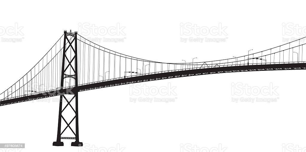 Suspension Bridge vector art illustration
