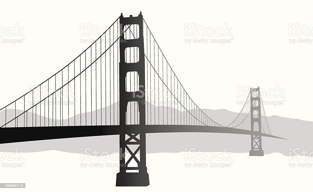 Suspension Bridge Vector Silhouette royalty-free stock vector art