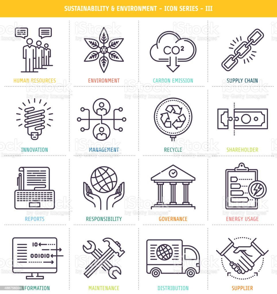 Sustainability and Environment Icons vector art illustration