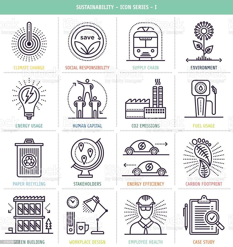 Sustainability Icons Set vector art illustration