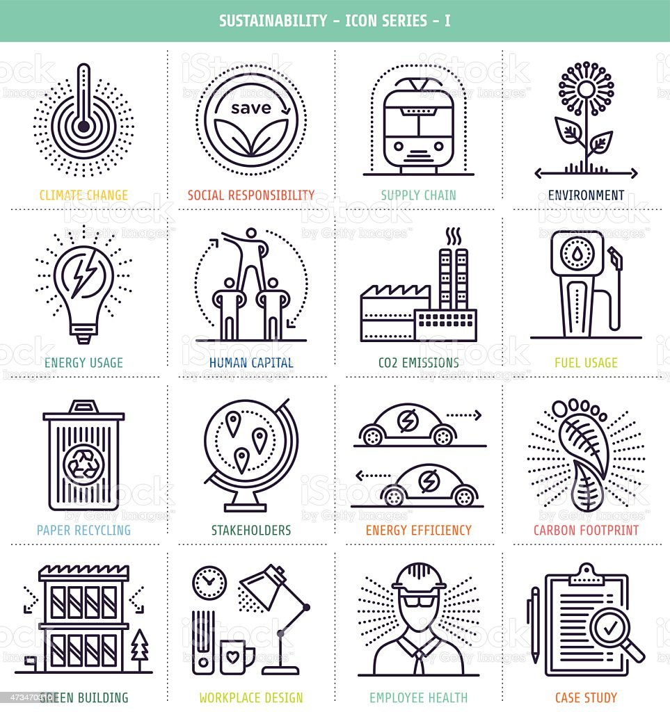 Sustainability Icons Set vector art illustration