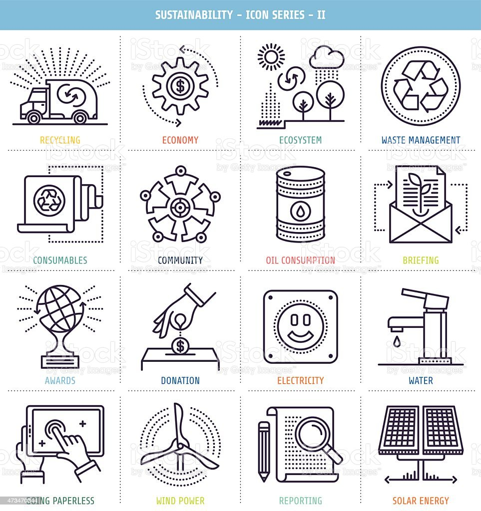Sustainability Reporting Icons Set vector art illustration