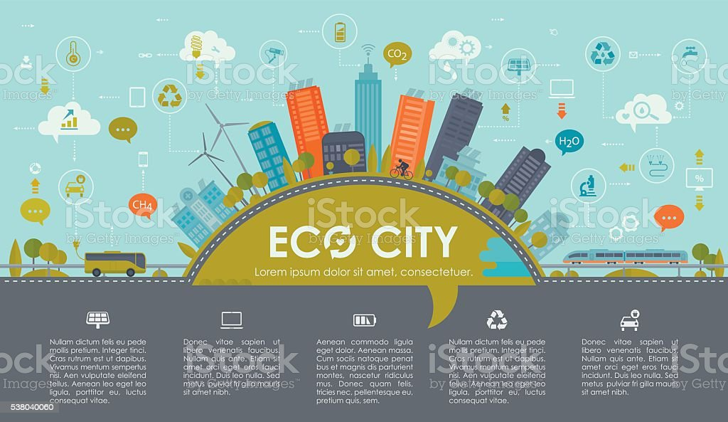 Sustainable City Infographic Landscape vector art illustration