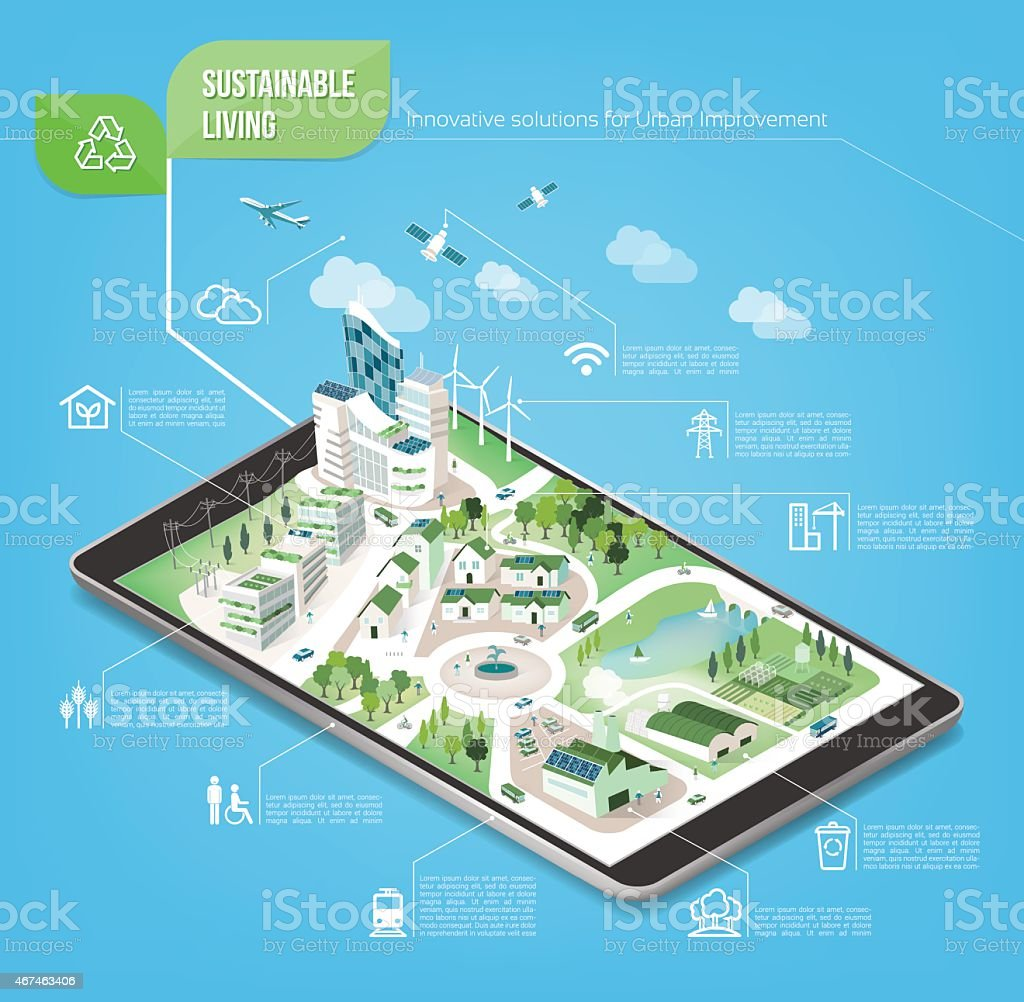 Sustainable city vector art illustration