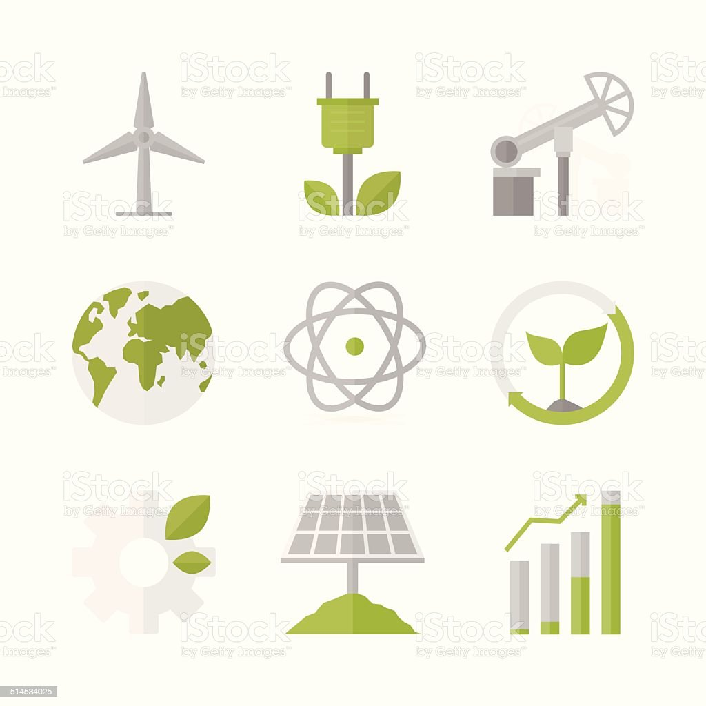 Sustainable development and green production flat icons set vector art illustration