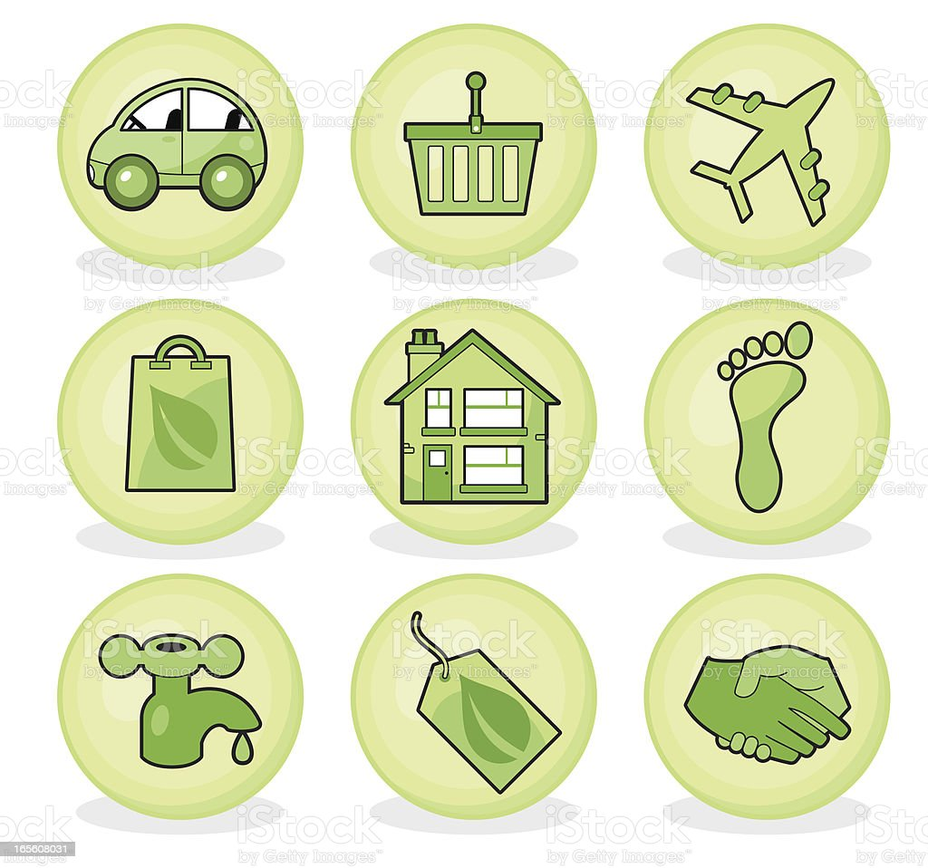 Sustainable living icon set royalty-free stock vector art
