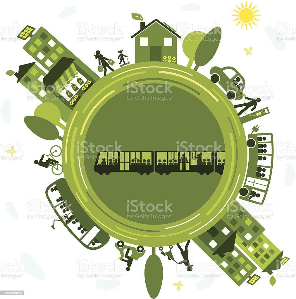 Sustainable Transportation vector art illustration