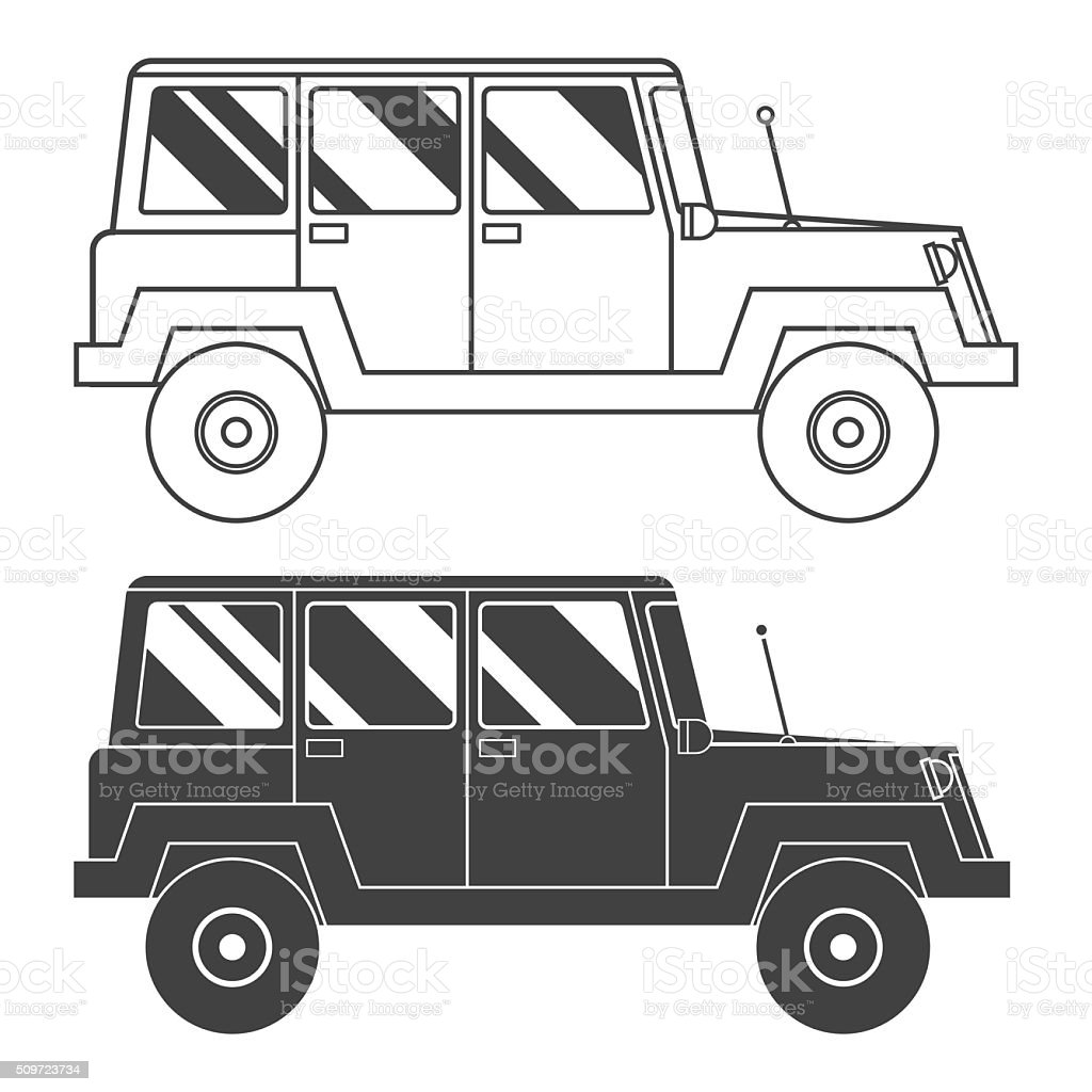 Suv Outline and Thin Line Icon vector art illustration