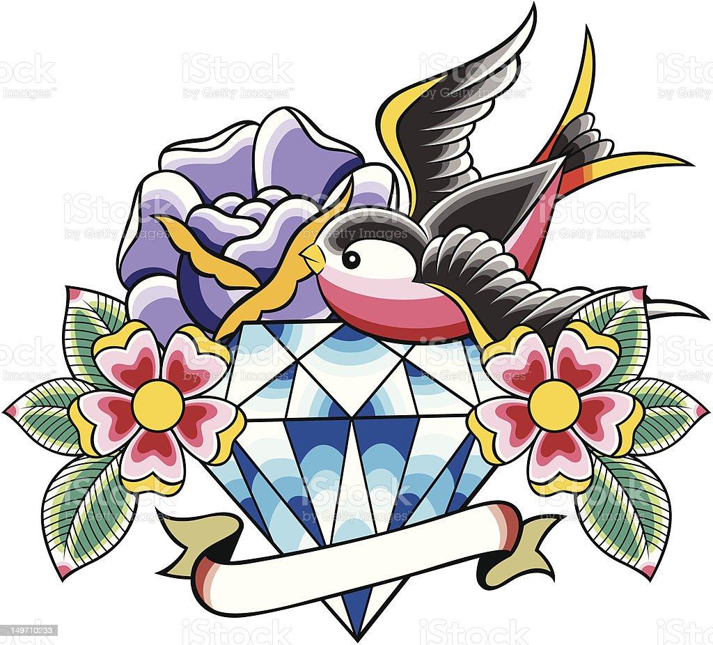 Rondine diamond Tatuaggio illustrazione royalty-free
