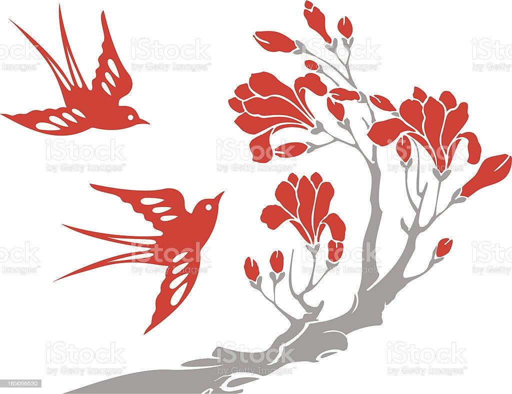 Swallow & Flowers vector art illustration