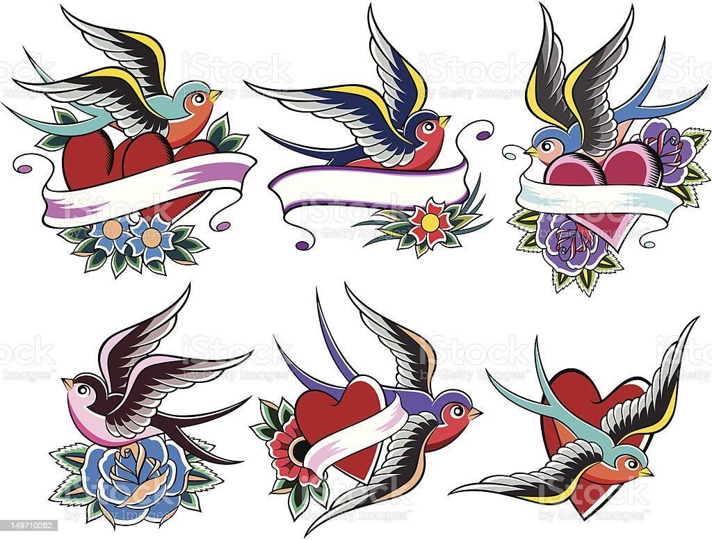 Rondine tatuaggio design illustrazione royalty-free