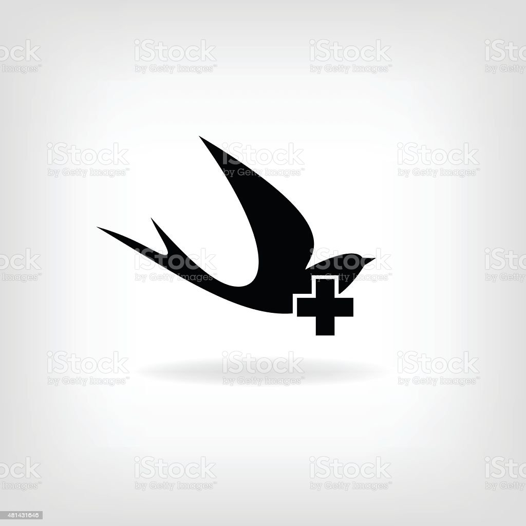 Swallow with a cross. Logo for medical centers and hospitals vector art illustration