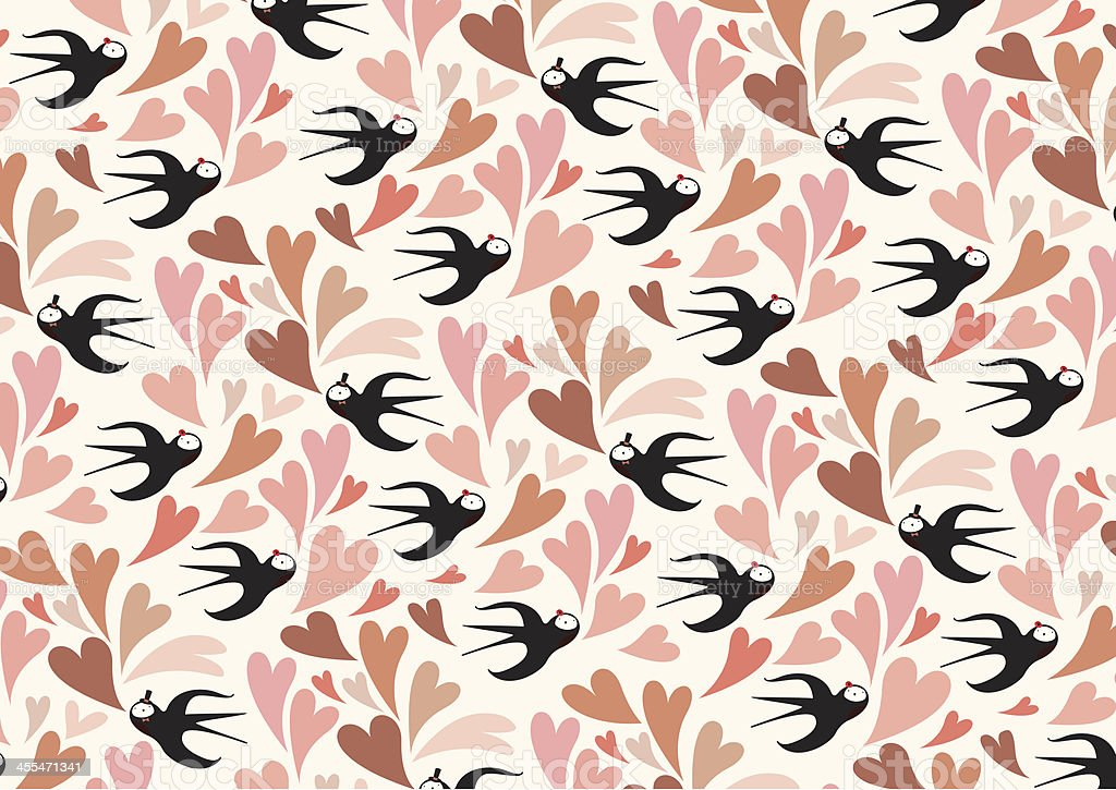 swallow with love pattern vector art illustration