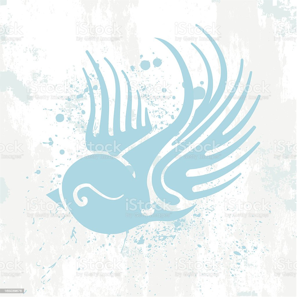 Swallow-Blue & Spattered vector art illustration