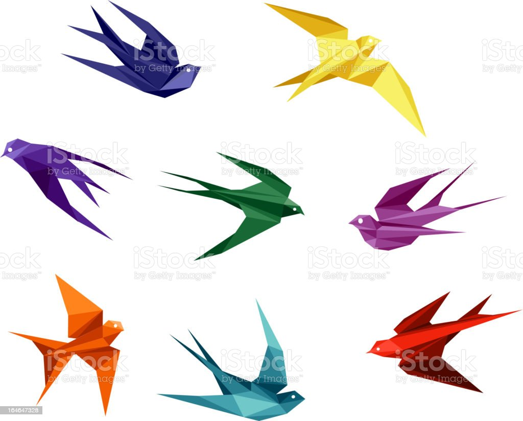 Swallows in origami style royalty-free stock vector art