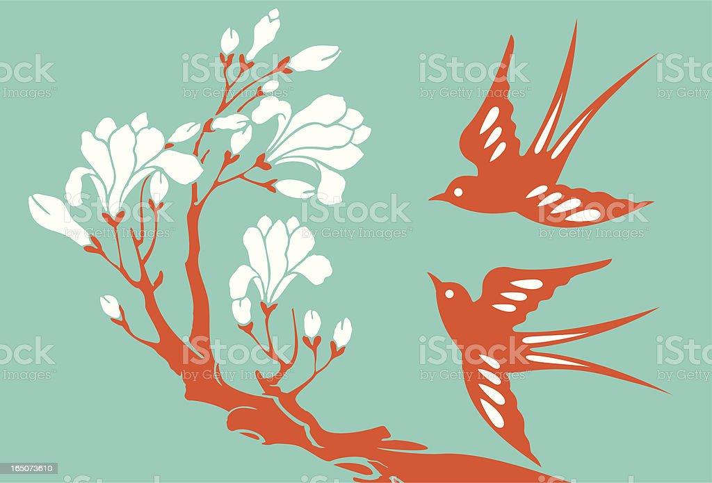 Swallows & Magnolia vector art illustration