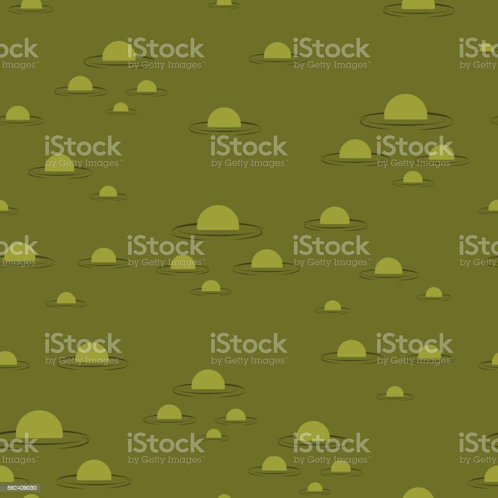 Swamp seamless pattern. Big green morass texture. Bubbles on bac vector art illustration