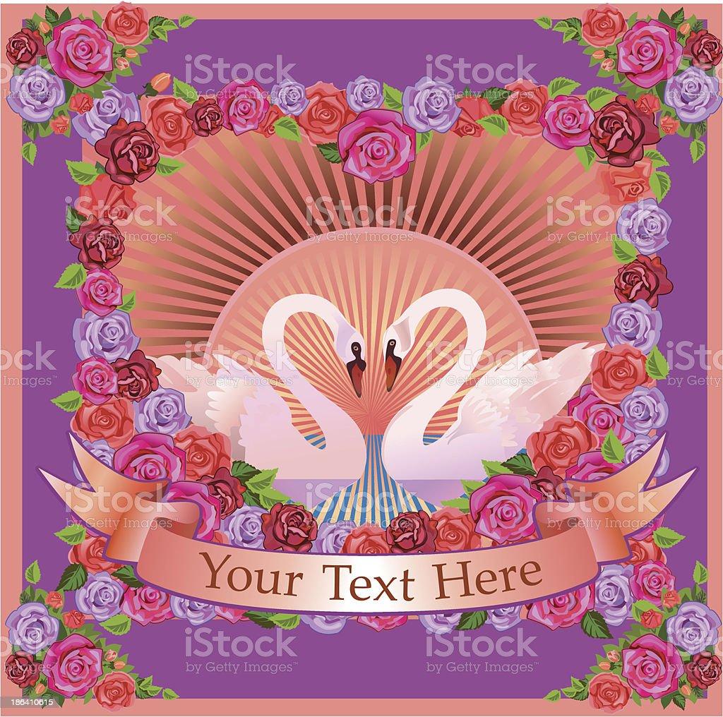 Swan and flower vector art illustration