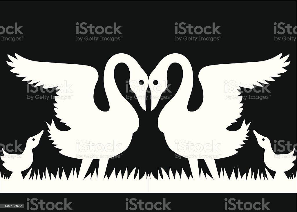 Swan family paper chain vector art illustration
