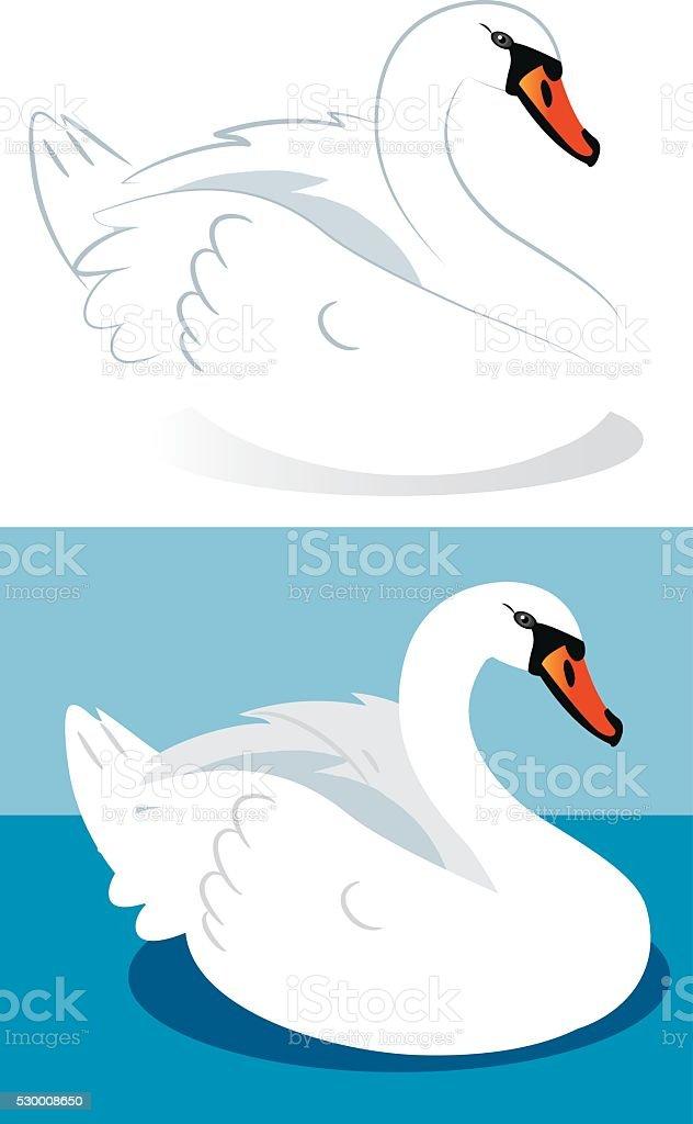 Swan vector art illustration