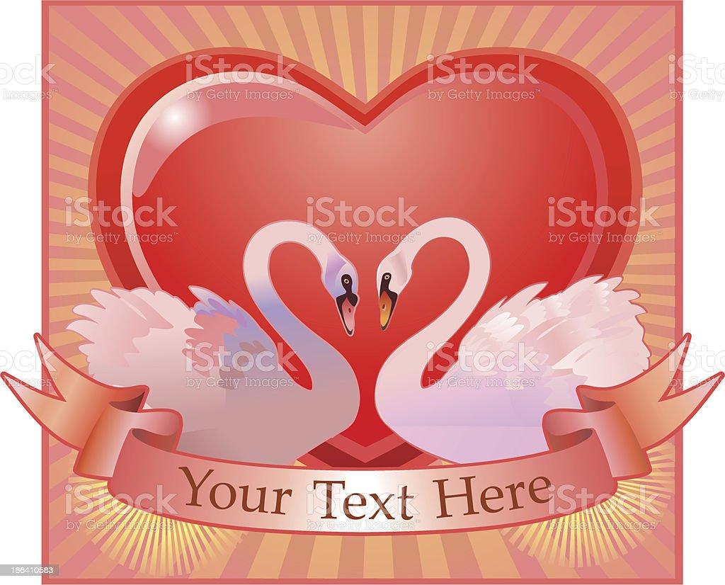 Swans and big Heart vector art illustration