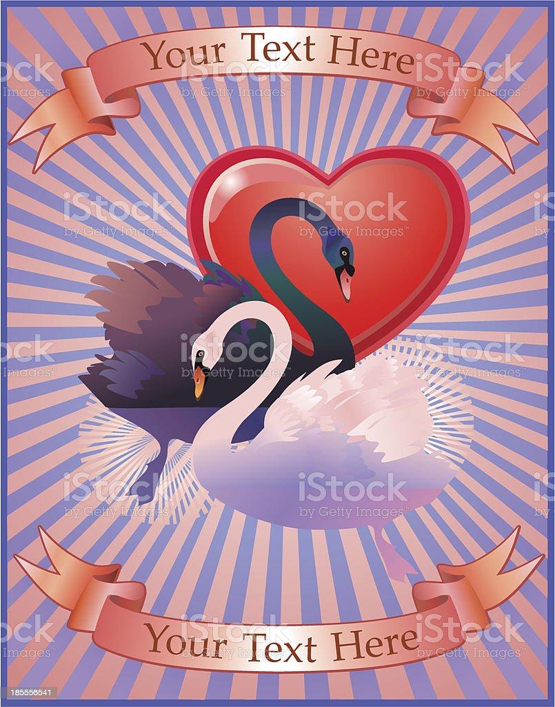 Swans in love vector art illustration
