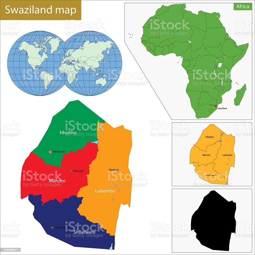 Swaziland map vector art illustration