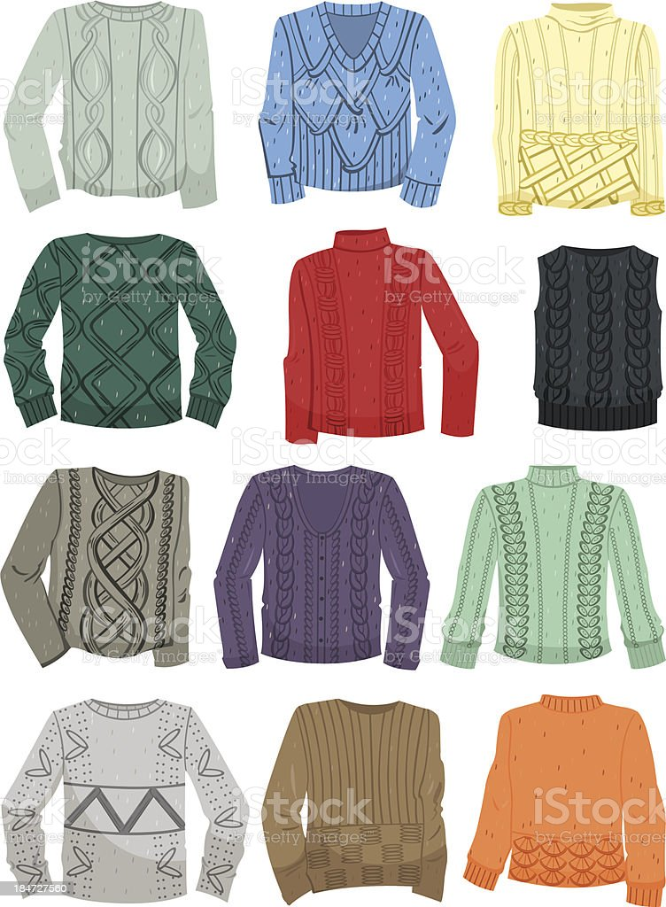 Sweaters with patterns royalty-free stock vector art