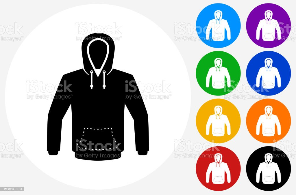 Sweatshirt Icon on Flat Color Circle Buttons vector art illustration