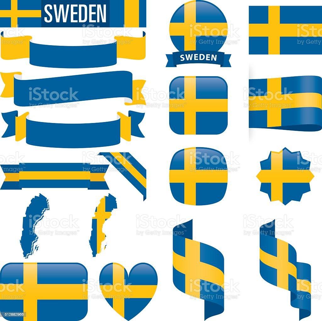 Sweden flags vector art illustration