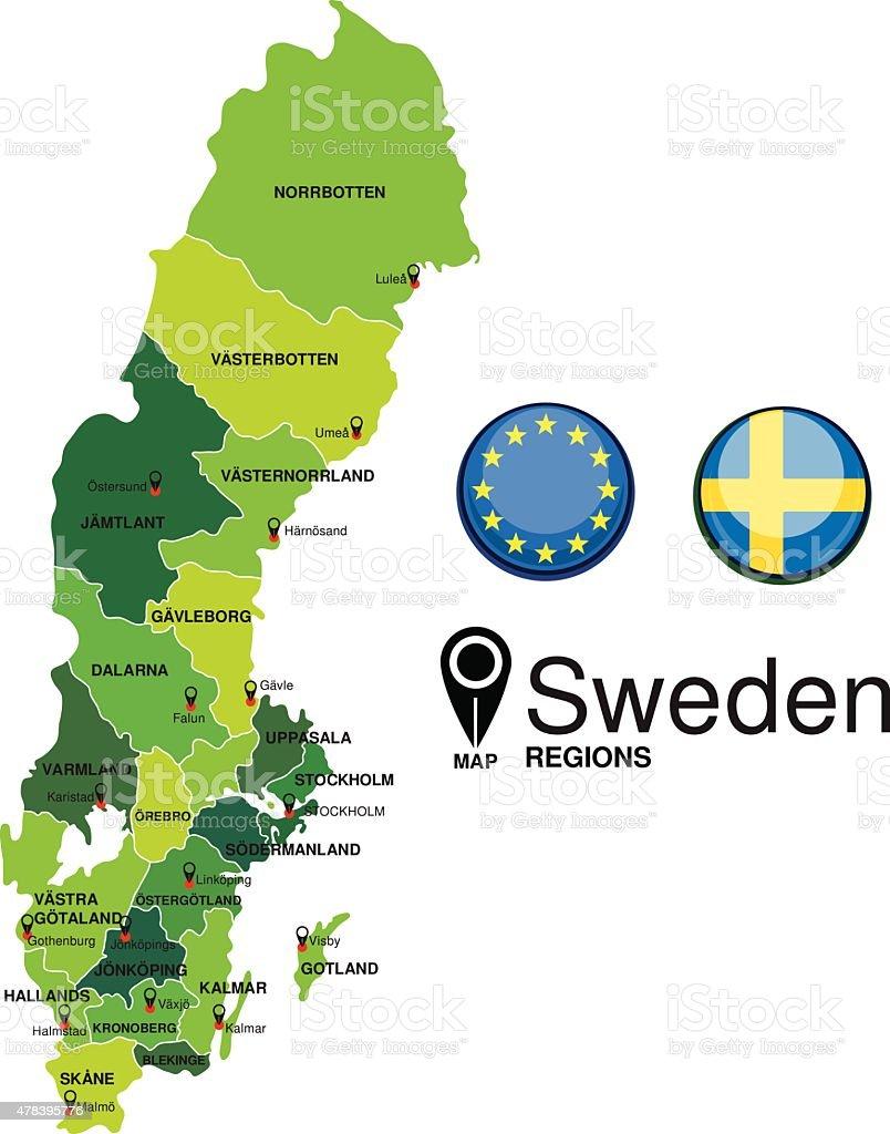 Sweden green Map detailed vector vector art illustration