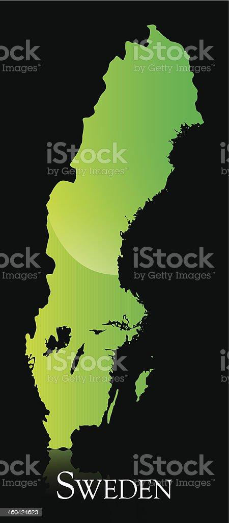 Sweden green shiny map royalty-free stock vector art