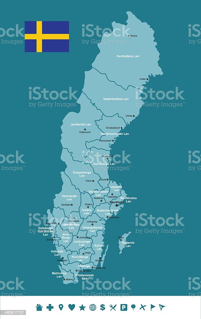 Sweden Infographic map vector art illustration