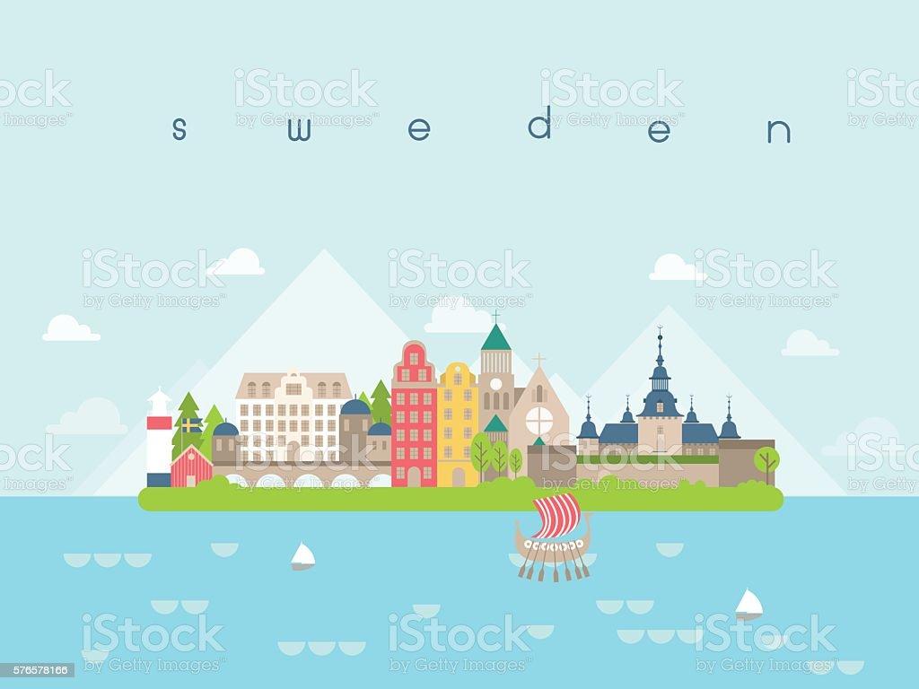 Sweden Landmarks Travel and Journey Vector vector art illustration