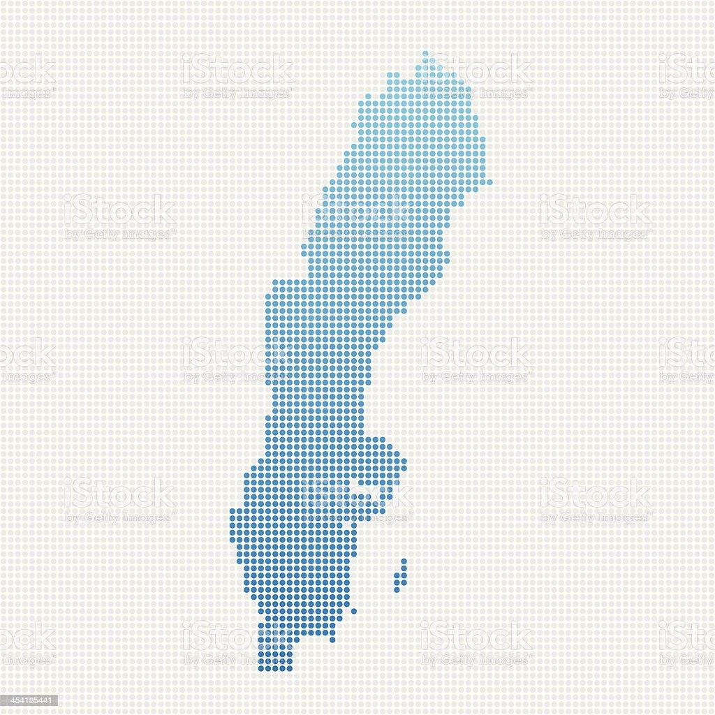 Sweden Map Blue Dot Pattern vector art illustration