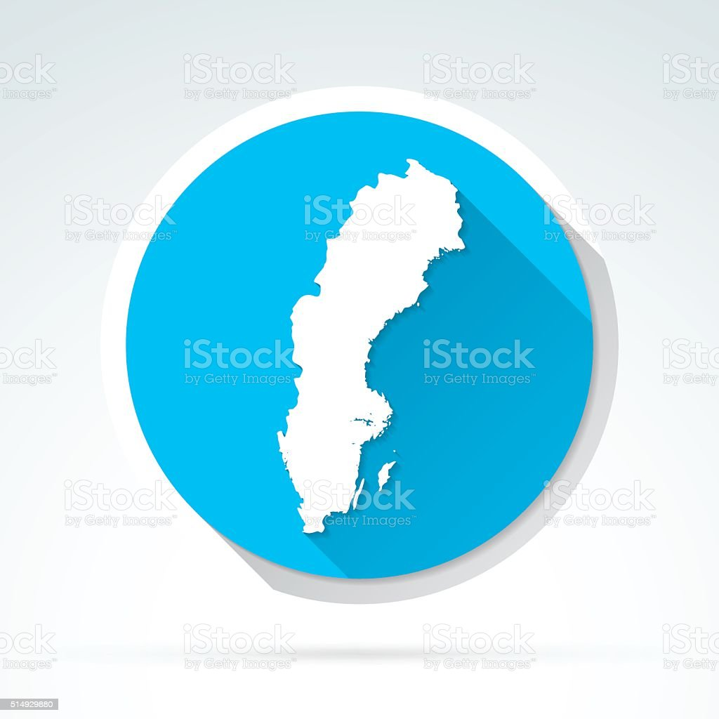 Sweden map icon, Flat Design, Long Shadow vector art illustration
