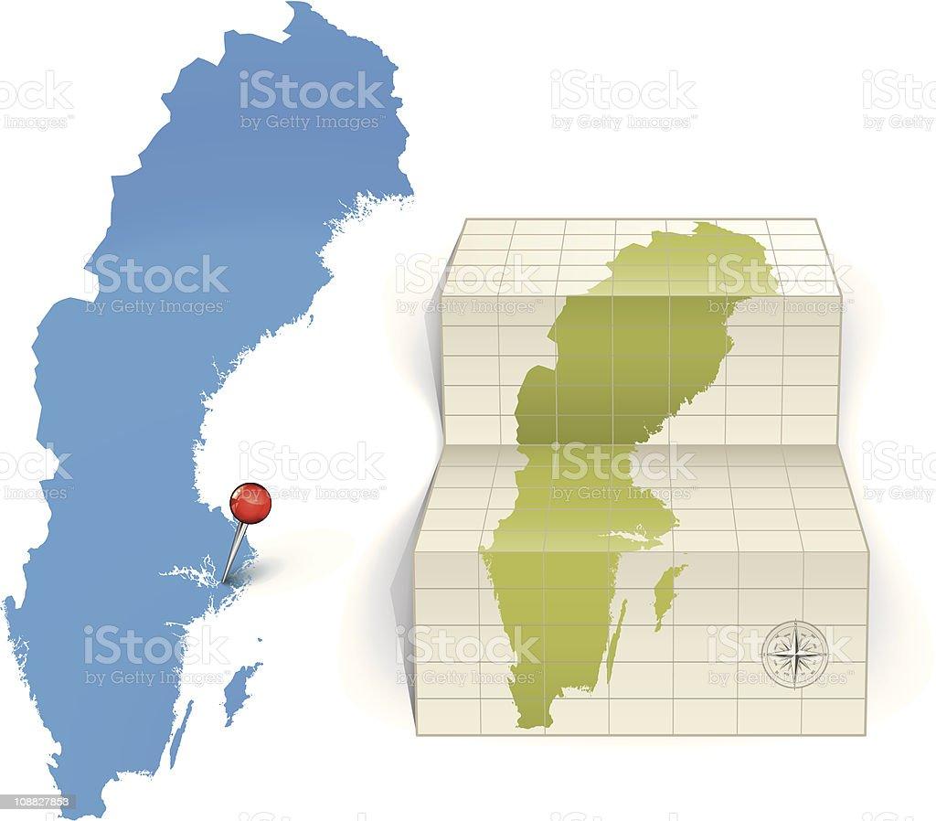 Sweden map vector art illustration