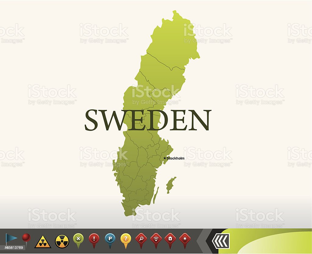 Sweden map with navigation icons royalty-free stock vector art