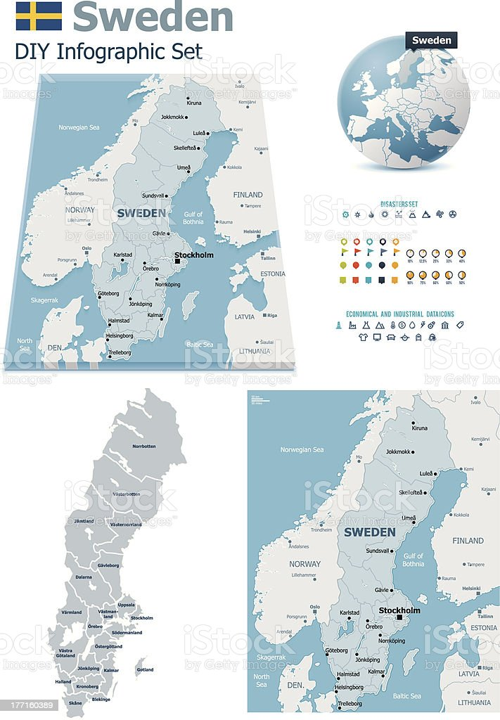 Sweden maps with markers royalty-free stock vector art