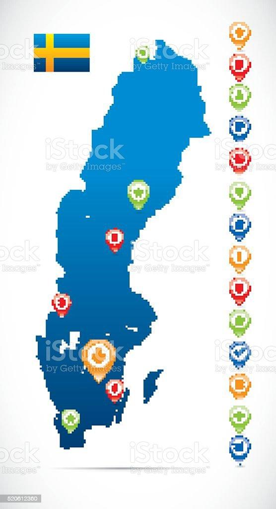 Sweden Vector Map vector art illustration